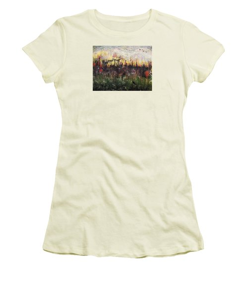 Women's T-Shirt (Junior Cut) featuring the painting Other World 2 by Ron Richard Baviello