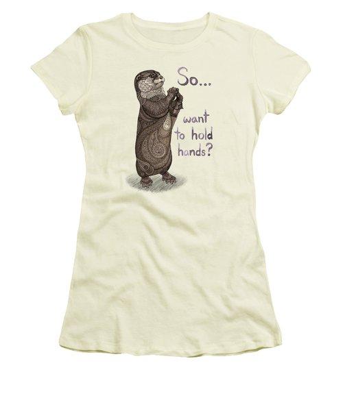 Otter Valentine Women's T-Shirt (Junior Cut) by ZH Field