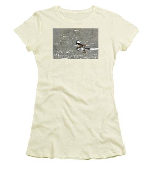 Women's T-Shirt (Junior Cut) featuring the photograph Pair Of Hooded Mergansers by Larry Ricker