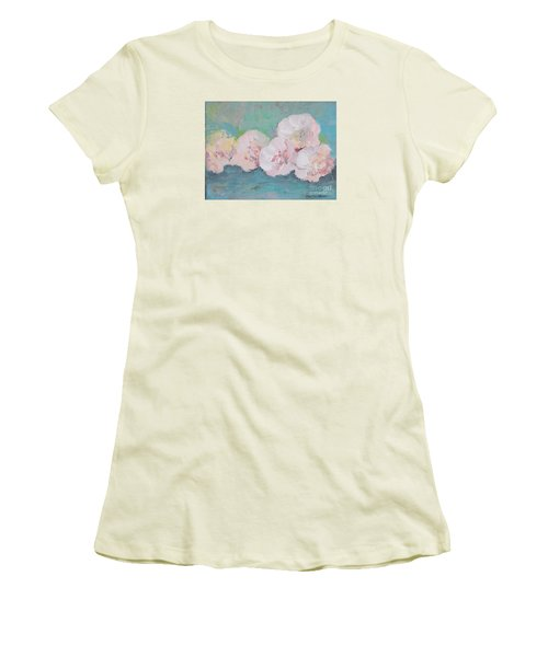 Pale Pink Peonies Women's T-Shirt (Athletic Fit)