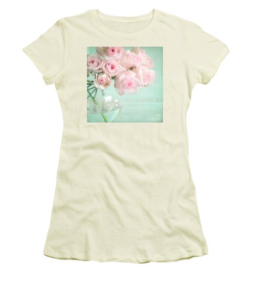 Pale Pink Roses Women's T-Shirt (Junior Cut) by Lyn Randle