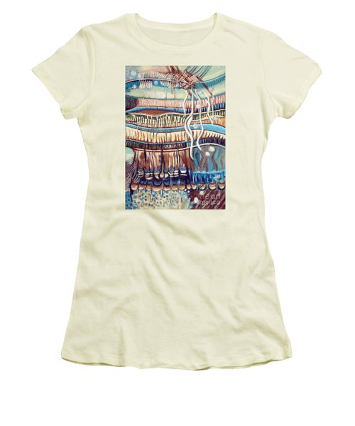Women's T-Shirt (Junior Cut) featuring the painting Palm Contractions by Kerryn Madsen-Pietsch