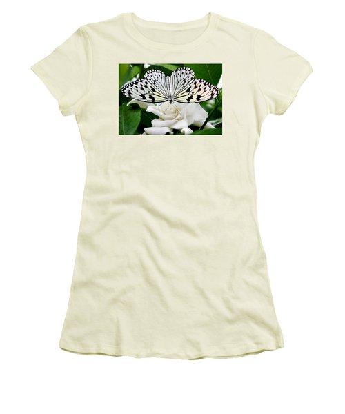 Paperkite On Gardenia Women's T-Shirt (Junior Cut) by Kristin Elmquist