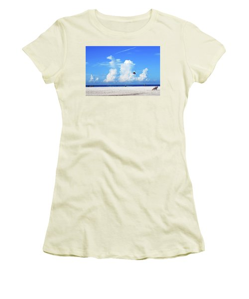 Women's T-Shirt (Athletic Fit) featuring the photograph Para Sailing On Siesta Key by Gary Wonning