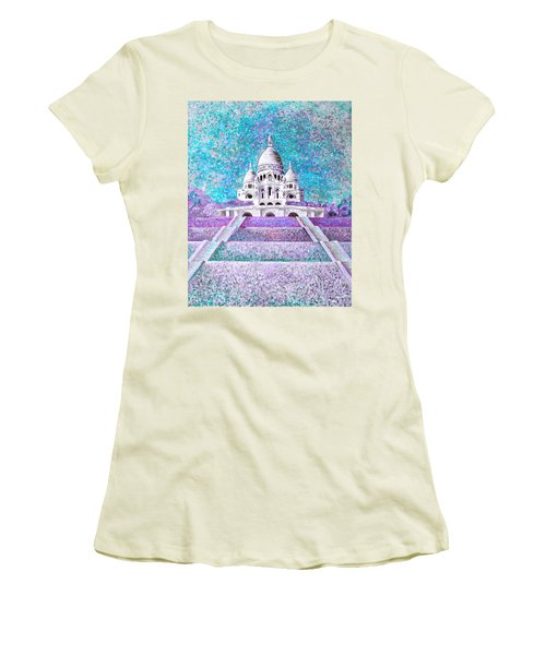 Women's T-Shirt (Athletic Fit) featuring the mixed media Paris II by Elizabeth Lock