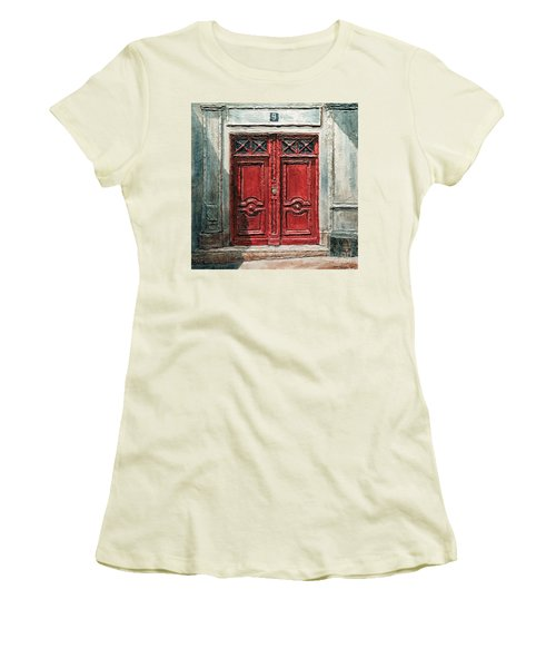 Women's T-Shirt (Junior Cut) featuring the painting Parisian Door No.9 by Joey Agbayani