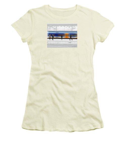 Passing Train Women's T-Shirt (Junior Cut) by Pedro L Gili
