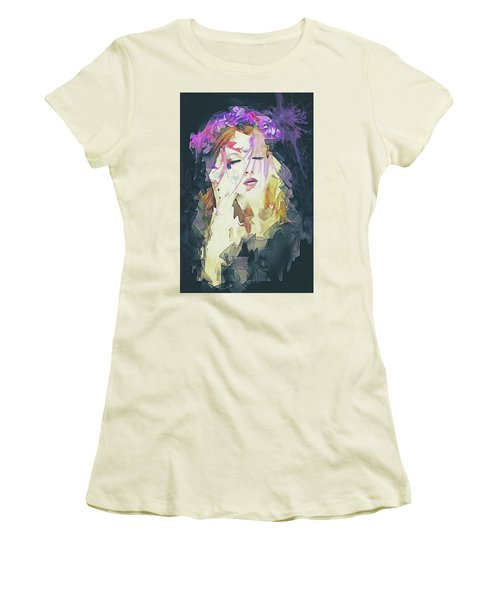 Path Abstract Portrait Women's T-Shirt (Junior Cut) by Galen Valle