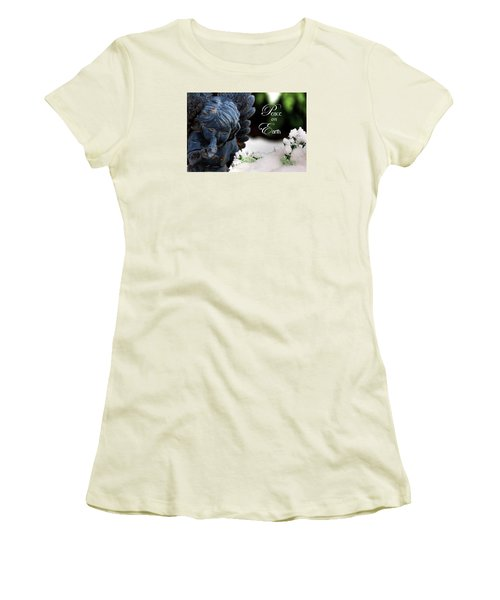 Women's T-Shirt (Junior Cut) featuring the photograph Peace On Earth Angel by Shelley Neff