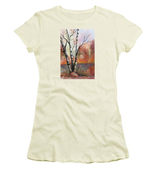 Women's T-Shirt (Junior Cut) featuring the painting Peaceful River by Annette Berglund