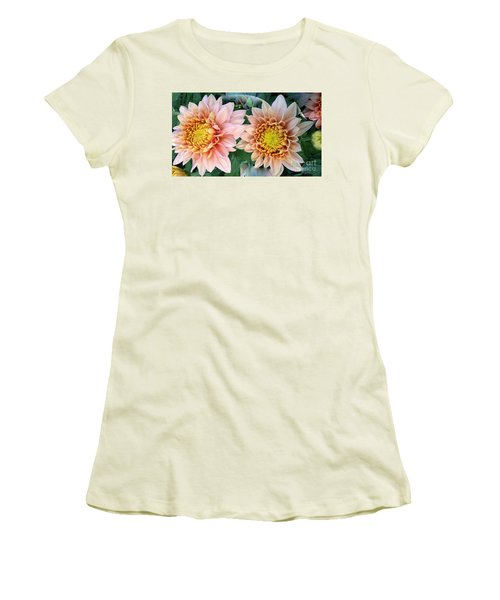 Peachy Chrysanthemums Women's T-Shirt (Junior Cut) by Jeannie Rhode