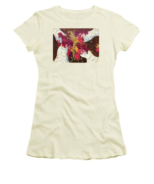 Pecking Order Women's T-Shirt (Junior Cut) by Jame Hayes