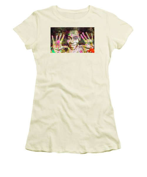 Women's T-Shirt (Junior Cut) featuring the mixed media Pele by Svelby Art
