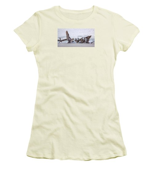 Women's T-Shirt (Junior Cut) featuring the photograph Pelican Brunch by Patricia Schaefer