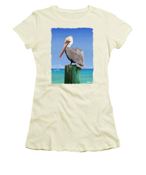 Pelicans Post Women's T-Shirt (Junior Cut) by Kevin Putman