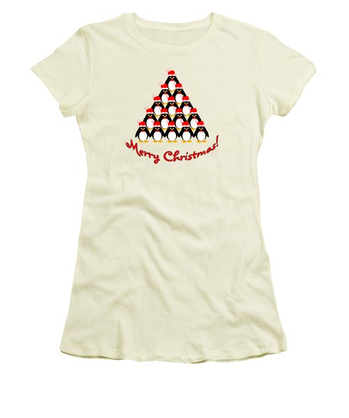 Penguin Christmas Tree Women's T-Shirt (Junior Cut) by Methune Hively