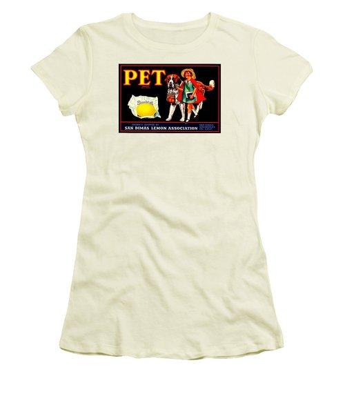 Pet Saint Bernard 1920s California Sunkist Lemons Women's T-Shirt (Junior Cut) by Peter Gumaer Ogden