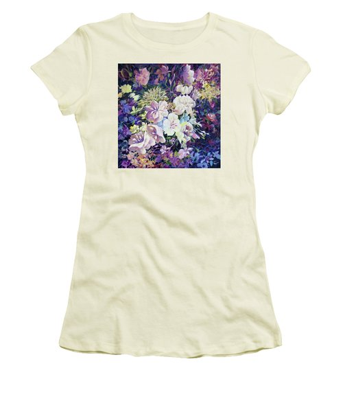 Women's T-Shirt (Junior Cut) featuring the painting Petals by Joanne Smoley
