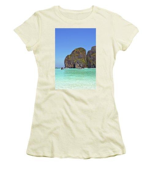 Women's T-Shirt (Junior Cut) featuring the digital art Phi Phi Islands by Eva Kaufman