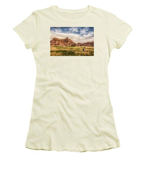Photographer Waiting For The Badlands Light Women's T-Shirt (Junior Cut) by Rikk Flohr