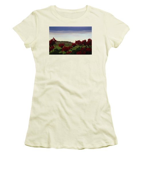 Picket Fence, Flowers And Storms Women's T-Shirt (Athletic Fit)