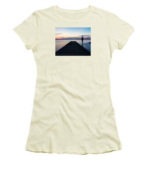 Pier At Sunset 16x20 Women's T-Shirt (Athletic Fit)