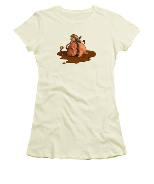 Pig Tales Women's T-Shirt (Junior Cut) by Andy Catling