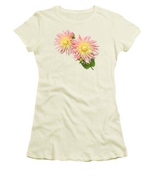 Pink And Cream Cactus Dahlia Women's T-Shirt (Junior Cut) by Jane McIlroy