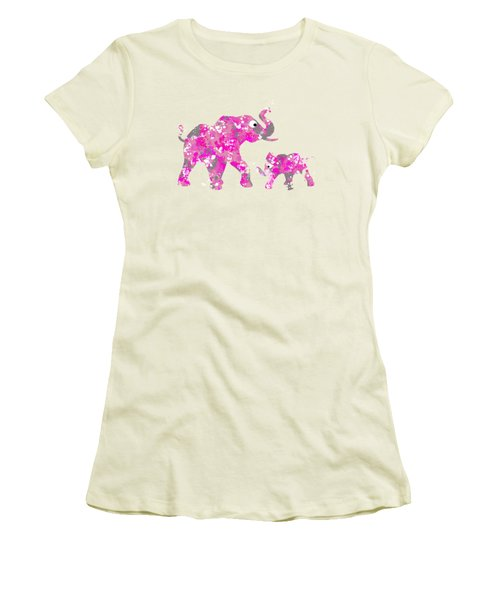 Pink Elephants Women's T-Shirt (Junior Cut) by Christina Rollo