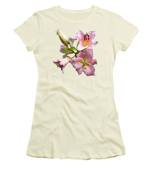 Pink Lilies On Cream Women's T-Shirt (Junior Cut) by Jane McIlroy