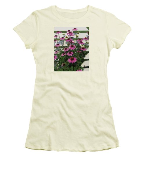 Women's T-Shirt (Junior Cut) featuring the photograph Pink On The Fence by Jeanette Oberholtzer