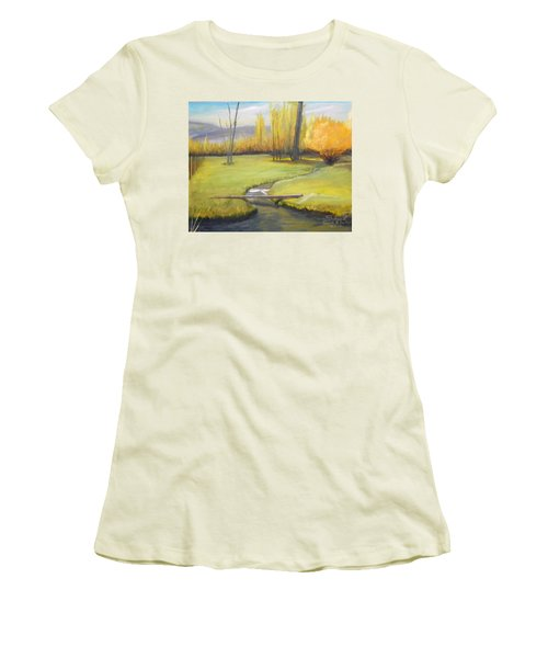 Placid Stream In Field Women's T-Shirt (Junior Cut) by Sherril Porter
