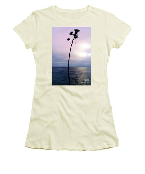 Women's T-Shirt (Junior Cut) featuring the photograph Plant Silhouette Over Ocean by Mariola Bitner