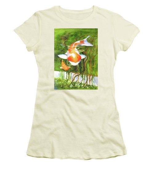 Play Koi With Me Women's T-Shirt (Junior Cut) by Bonnie Rinier