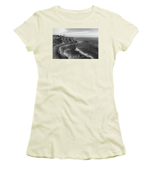 Point Vicente Lighthouse Palos Verdes California - Black And White Women's T-Shirt (Athletic Fit)