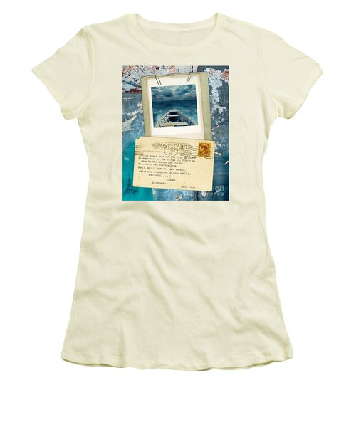 Poloroid Of Boat With Inspirational Quote Women's T-Shirt (Junior Cut) by Jill Battaglia
