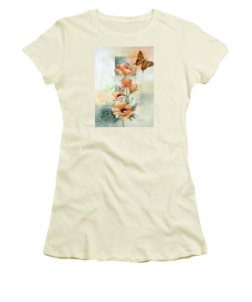 Poppies And Butterfly Women's T-Shirt (Junior Cut) by Marti Idlet