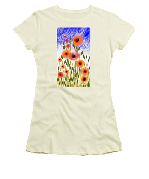 Women's T-Shirt (Junior Cut) featuring the digital art Poppy Garden by Elaine Lanoue