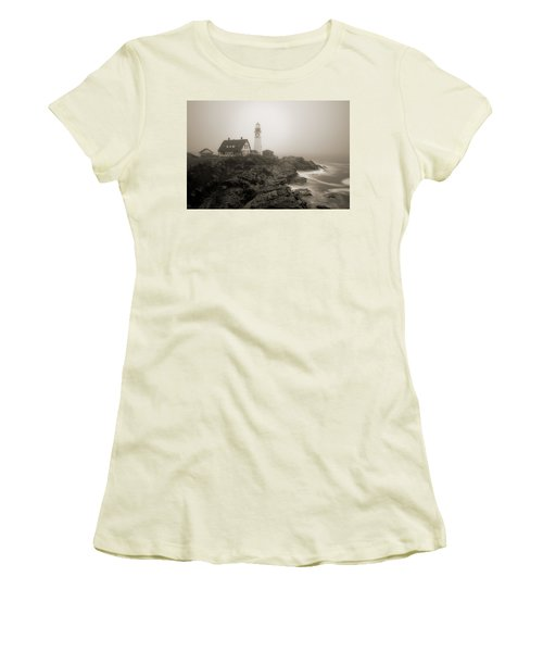 Portland Head Lighthouse In Fog Sepia Women's T-Shirt (Athletic Fit)