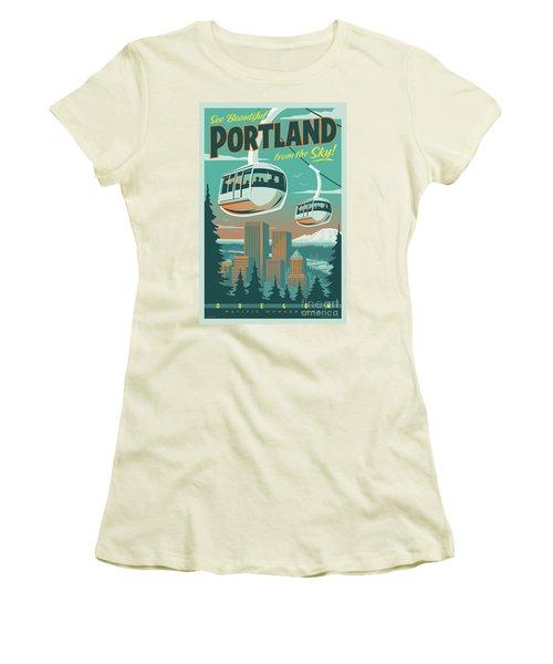 Portland Tram Retro Travel Poster Women's T-Shirt (Junior Cut) by Jim Zahniser