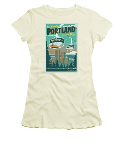 Portland Tram Retro Travel Poster Women's T-Shirt (Athletic Fit)