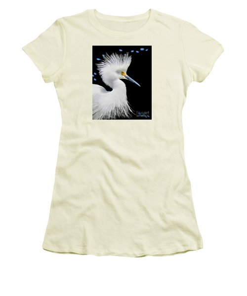 Portrait Of A Snowy White Egret Women's T-Shirt (Junior Cut) by Jennie Breeze