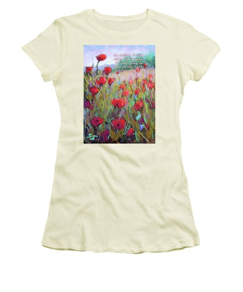 Praising Poppies With Bible Verse Women's T-Shirt (Athletic Fit)
