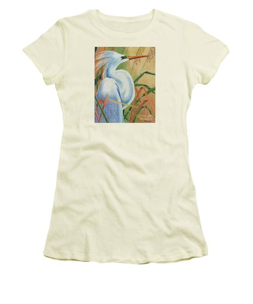 Preening Egret Women's T-Shirt (Junior Cut) by Peter Piatt