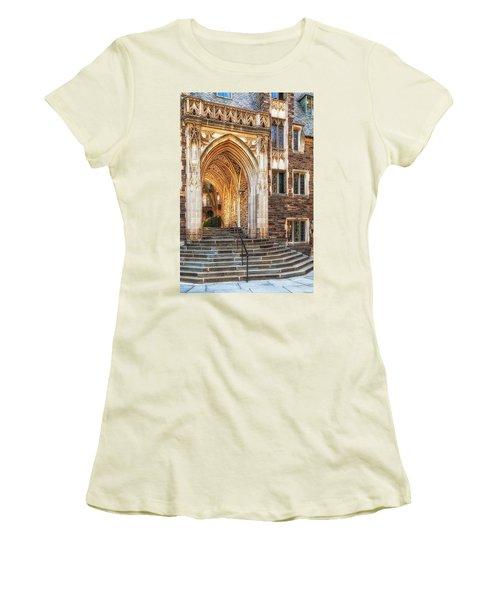 Women's T-Shirt (Junior Cut) featuring the photograph Princeton University Lockhart Hall Dorms by Susan Candelario