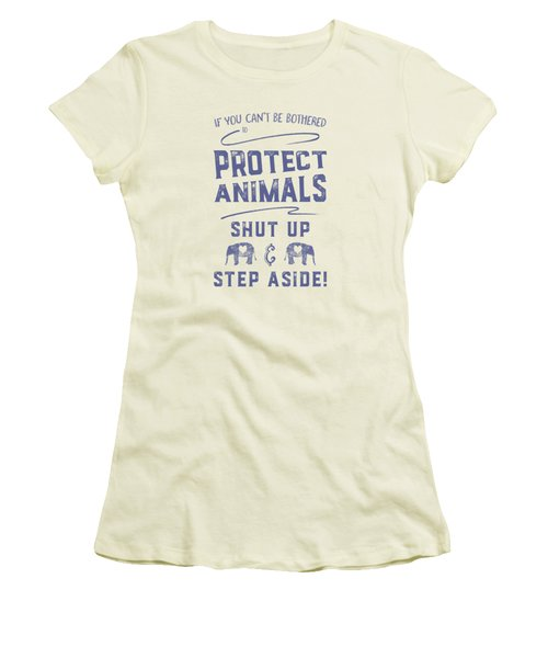 Women's T-Shirt (Athletic Fit) featuring the digital art Protect Animals Typography Poster 2 by Nola Lee Kelsey
