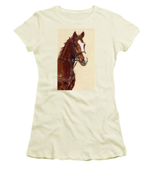 Proud - Portrait Of A Thoroughbred Horse Women's T-Shirt (Junior Cut) by Patricia Barmatz