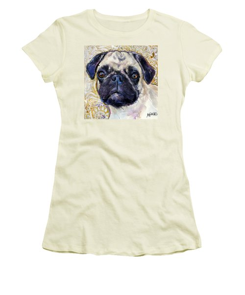 Women's T-Shirt (Junior Cut) featuring the painting Pug Mug by Molly Poole