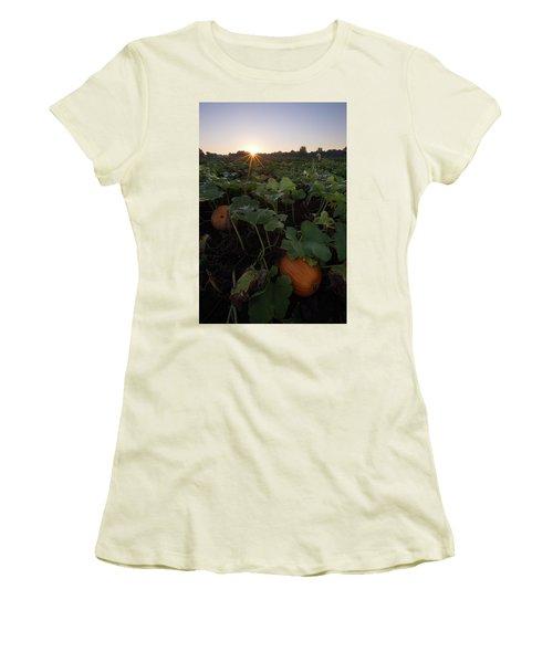 Women's T-Shirt (Junior Cut) featuring the photograph Pumpkin Patch by Aaron J Groen