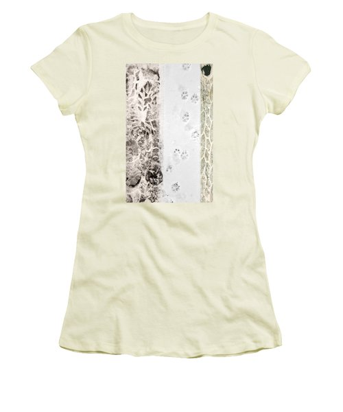 Puppy Prints In The Snow Women's T-Shirt (Athletic Fit)